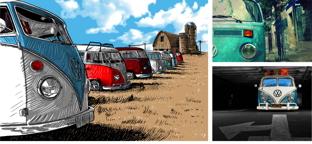 vw camper van canvas prints