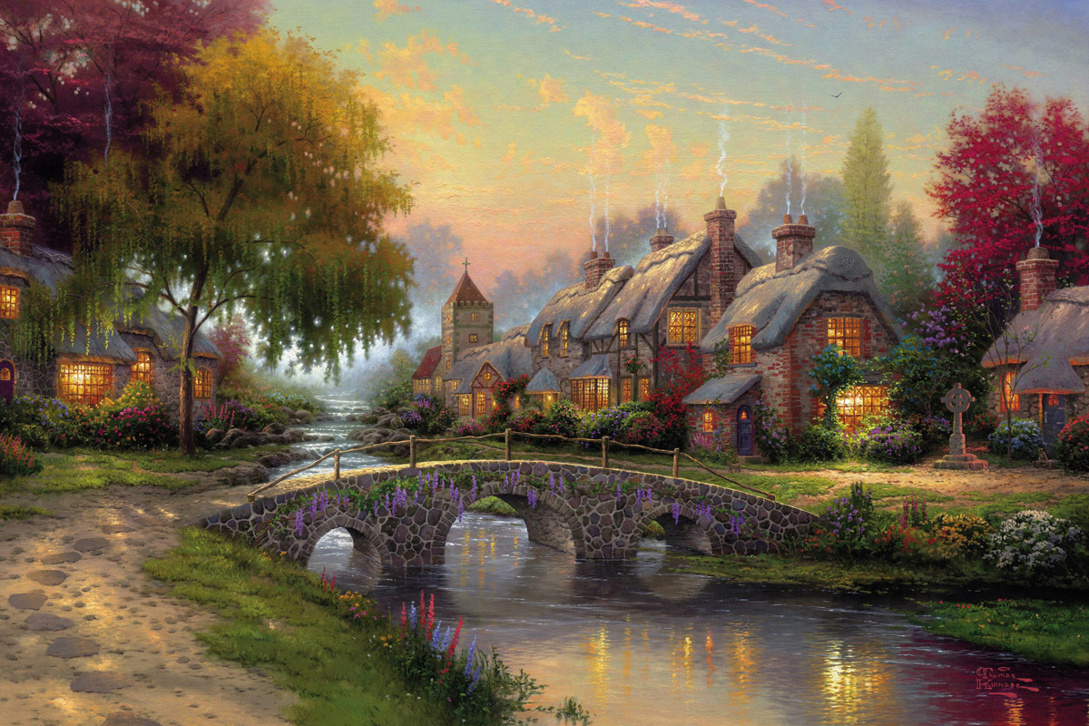 Thomas Kinkade Cobblestone Bridge canvas